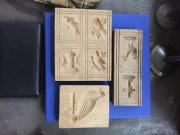 3 alte Holzmodel,