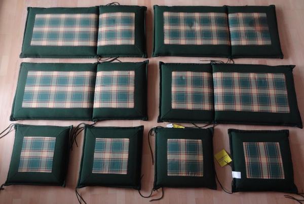 Auflagen für Hochlehner, 4 Sitzpolster Farbe grünbeige, 6 Auflagen