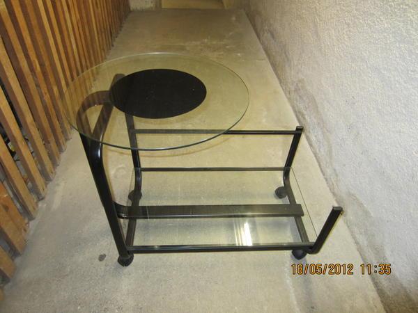 Beistelltisch glas runde platte auf rollen drehbare for Beistelltisch glas auf rollen