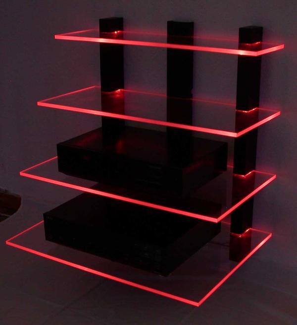phono tv videom bel design wand hifi rack led beleuchtet. Black Bedroom Furniture Sets. Home Design Ideas