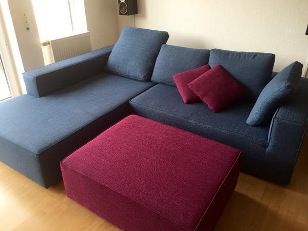 designer l couch roma sofa hocker blau lila f nf monate. Black Bedroom Furniture Sets. Home Design Ideas