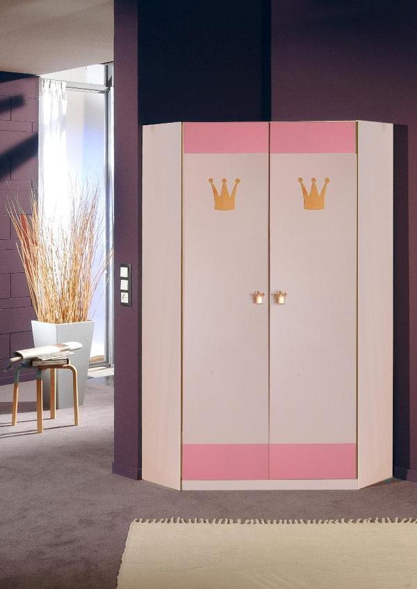 Eckkleiderschrank cinderella 2 t rig weiss rosa in for Jugendzimmer quoka