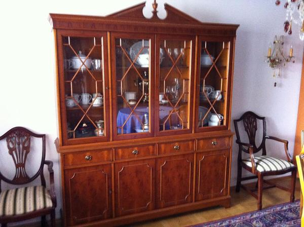 englische vitrine b cherschrank regency eibe in. Black Bedroom Furniture Sets. Home Design Ideas