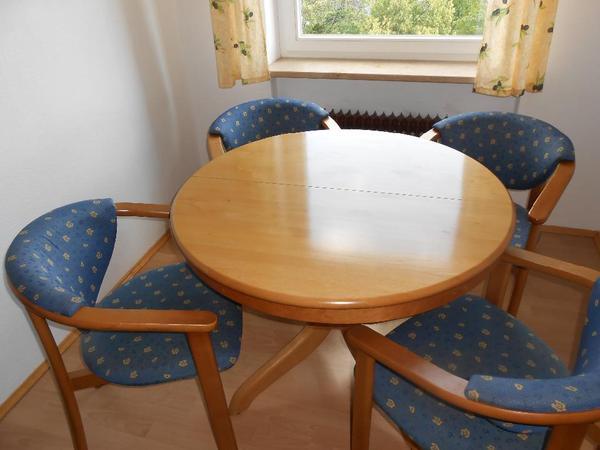 wundersch ner esstisch massiv erle rund 100 cm aufklappbar auf 170 cm l nge sehr guter. Black Bedroom Furniture Sets. Home Design Ideas