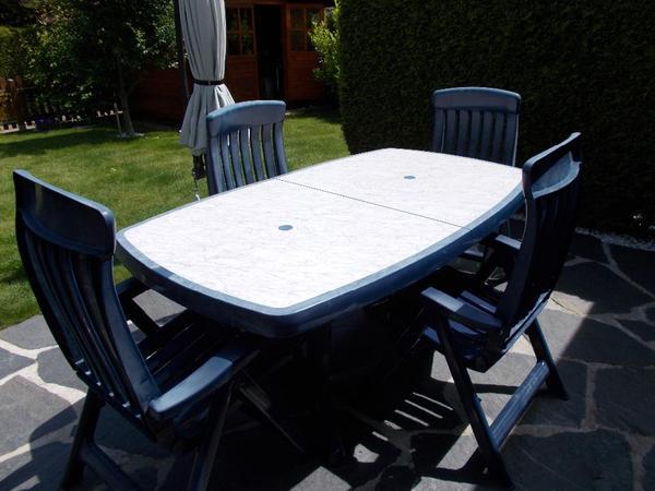 gartengarnitur steiner tisch ausziehbar und 4 st hle blau in eichst dt gartenm bel kaufen und. Black Bedroom Furniture Sets. Home Design Ideas