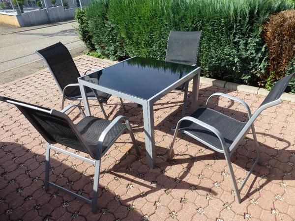 gartenm bel gartengarnitur garten set sitzgruppe 1 tisch alu und 4 st hle in loffenau kaufen. Black Bedroom Furniture Sets. Home Design Ideas