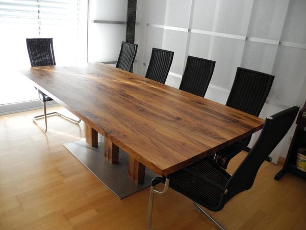 gro er olivenholztisch esszimmertisch mit ansteckplatten