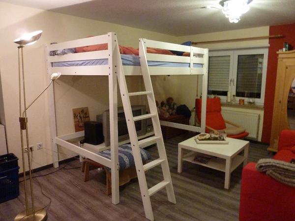 Hochbett IKEA STORA weiß gebeizt mit Matratze in Dielheim  Betten