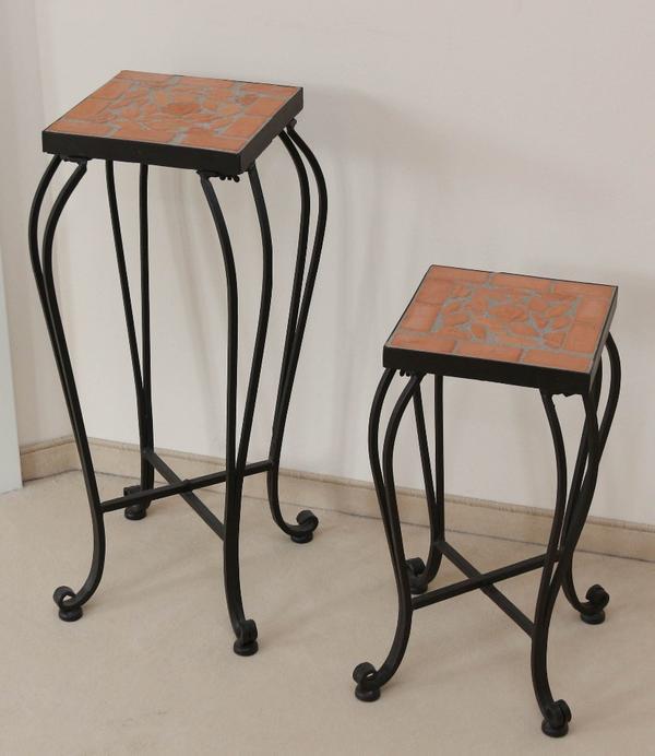 hocker blumenhocker pflanzenhocker beistelltisch f garten o innenbereich 2er set neu in. Black Bedroom Furniture Sets. Home Design Ideas