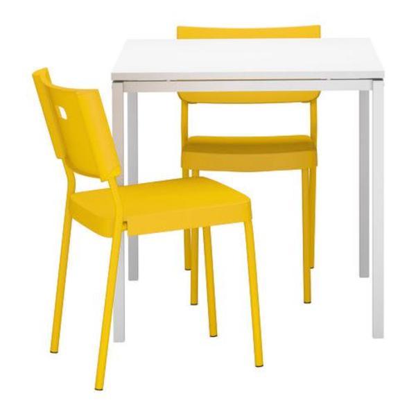 ikea melltorp tisch 2 ikea st hle gelb in m nchen. Black Bedroom Furniture Sets. Home Design Ideas