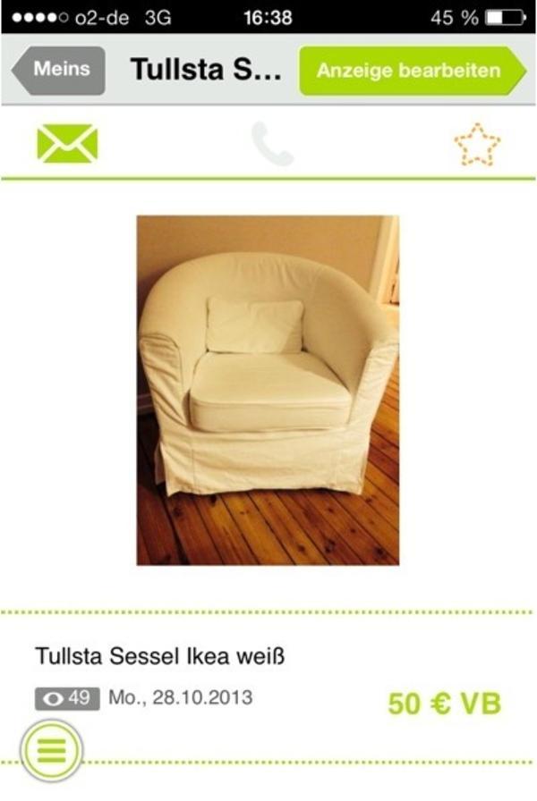ikea sessel tullsta wei in kiel ikea m bel kaufen und verkaufen ber private kleinanzeigen. Black Bedroom Furniture Sets. Home Design Ideas