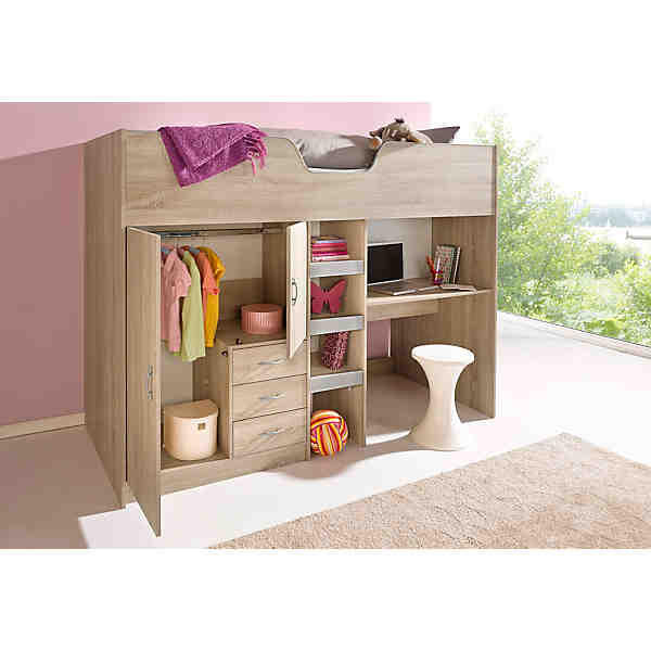 verkaufe kinderhochbett mit integriertem kleiderschrank und schreibtisch liegrfl che 90x200 cm. Black Bedroom Furniture Sets. Home Design Ideas