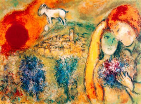 marc chagall die liebenden von vence limitiert in berlin kunst gem lde plastik kaufen und. Black Bedroom Furniture Sets. Home Design Ideas