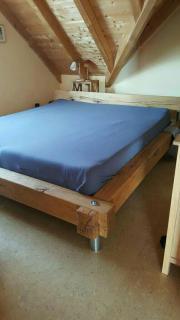 Massiv Eichenbalken Bett