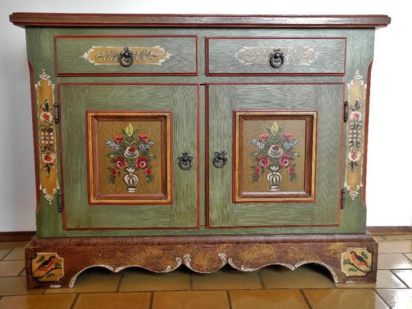 original voglauer anno 1800 kommode handbemalt altgr n in. Black Bedroom Furniture Sets. Home Design Ideas