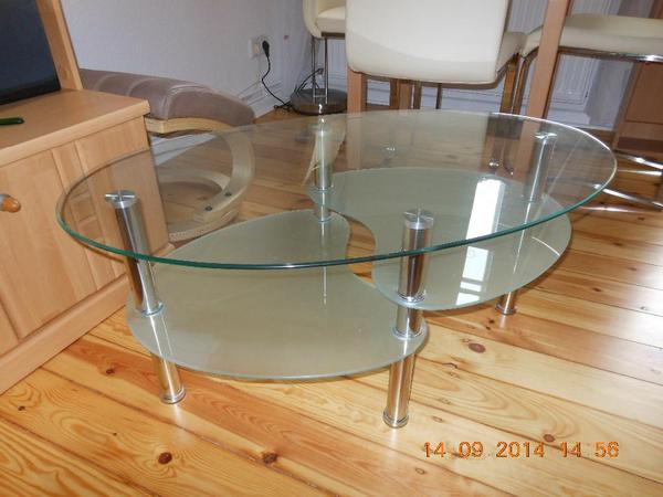 Ovaler glastisch 2 etagen in berlin couchtische kaufen for Ovaler glastisch