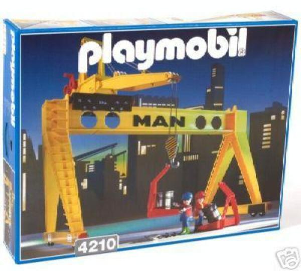 spielzeug lego playmobil playmobil portalkran verladung bahn baustelle kran hafen. Black Bedroom Furniture Sets. Home Design Ideas