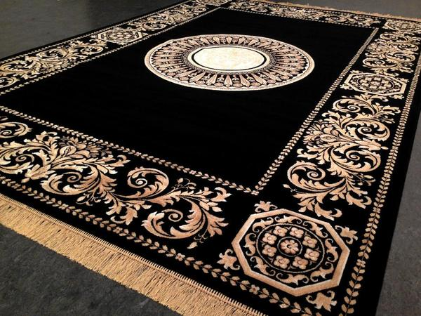 seiden teppich m ander rug versac design 290x200 medusa perser barock gold schwarz modern in. Black Bedroom Furniture Sets. Home Design Ideas