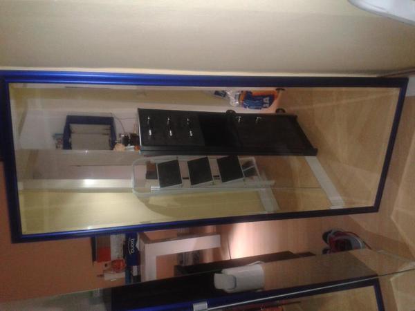 spiegel mit blauem rahmen 167 x 67 in frankfurt garderobe flur keller kaufen und verkaufen. Black Bedroom Furniture Sets. Home Design Ideas