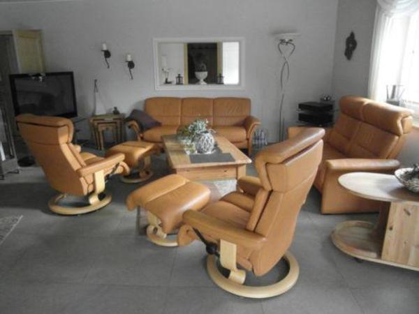 Stressless Wohnzimmer Garnitur komplett Sofa, 2 Sessel, Zweier