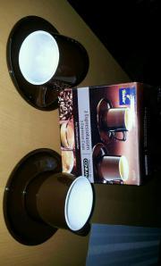 Tschibo Espresso Tassen Neue braun weiße Tschibo Espresso Tassen. 5,- D-76189Karlsruhe Heute, 15:45 Uhr, Karlsruhe - Tschibo Espresso Tassen Neue braun weiße Tschibo Espresso Tassen