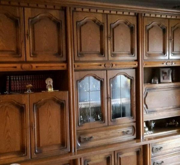 Wohnzimmerschrank Mit Bar Neu Massiv Echtholz Eingebauter Und Vitrine