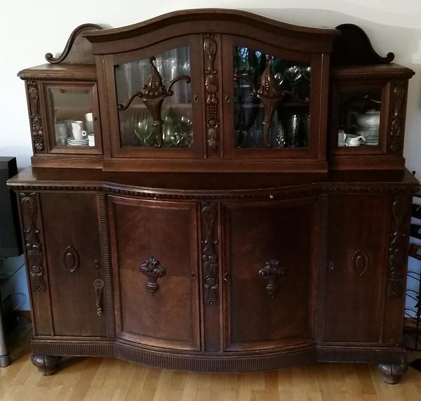zweiteilige antike anrichte buffet schrank um 1920 in brannenburg schr nke antiquarisch. Black Bedroom Furniture Sets. Home Design Ideas