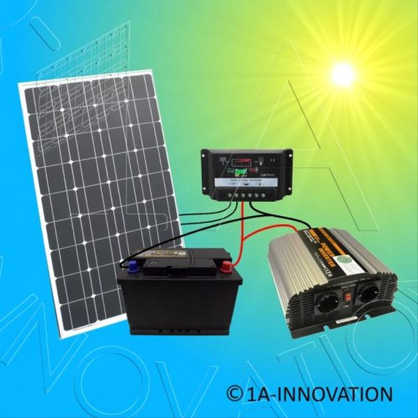 100w solar komplettpaket 100ah akku 1000w spannungswandler solaranlage gartenhaus. Black Bedroom Furniture Sets. Home Design Ideas