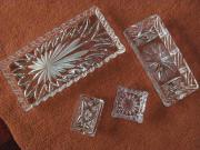 2 Kristallglasplatten und 2 Kristallglasaschenbecher