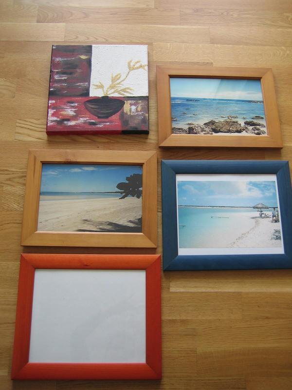 4 Bilderrahmen 27x36 cm und 31x37 cm und 1 Bild mit Holzrahmen 30x30 ...