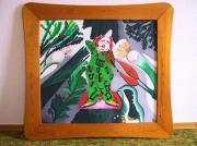 Acrylbild Musizierender Clown im Gemüsebeet