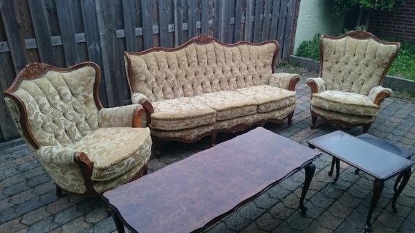 antike sitzgarnitur 3 1 1 puffer tisch barok antik in niederkr chten polster sessel. Black Bedroom Furniture Sets. Home Design Ideas