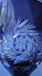antiker Kristallglas -Kelch violett-Kristallglas- 31cmx