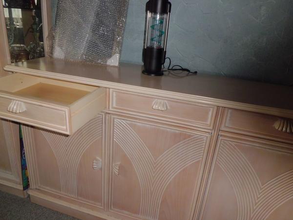 Excl Ital Buchenholz Designer Vitrine Sideboard Cremefarben