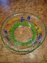 Glasschüssel handbemalt Blumen Schmetterlinge Durchmesser