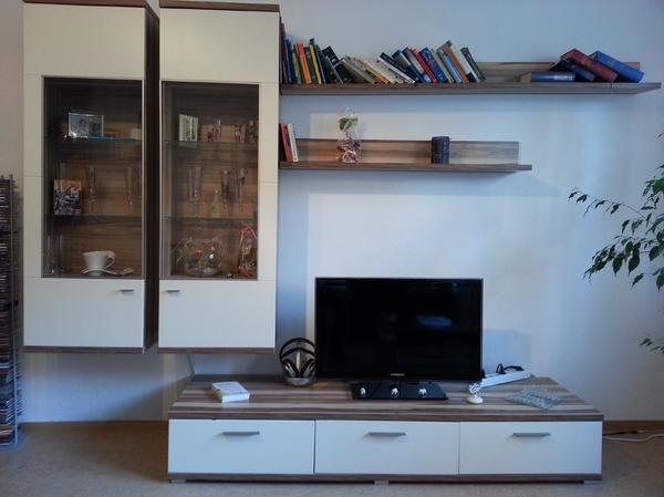 Hochwertige Wohnwand Sammlung : Hochwertige wohnwand walnuß beige mit led beleuchtung in
