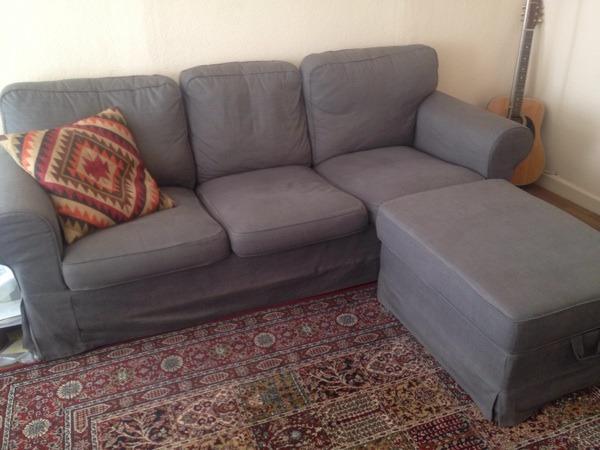 Ikea Ektorp 3er-sofa Grau Mit Hocker In Hagen - Polster, Sessel ... Ikea Einrichtung Ektorp