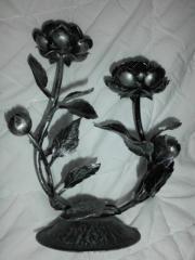 Kerzenhalter-rosen und blättermuster--neu-