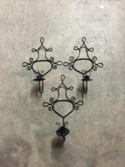 Kerzenwandhalter Eisen schwarz ,