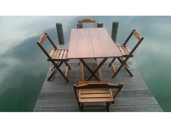 klapptisch set neu-teak aus brazil 4 stühle 1 tisch für garten,