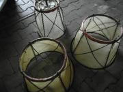 Lampenschirme mit Kupfereinfassung Schmiedeeisen weiße