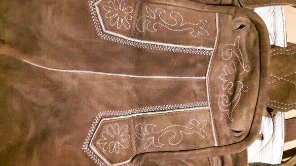Lederhose, kniebund, Gr. 52 - Olching - verkaufe Lederhose für Herren, Gr. 52, kniebund mit Trägern, braunes Leder, wenig getragen (ca. 2x pro Jahr), Lodenfrey - Olching