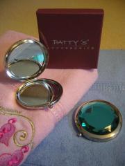 Make-Up-Spiegel Handspiegel Taschenspiegel Edelstein-Optik rosa