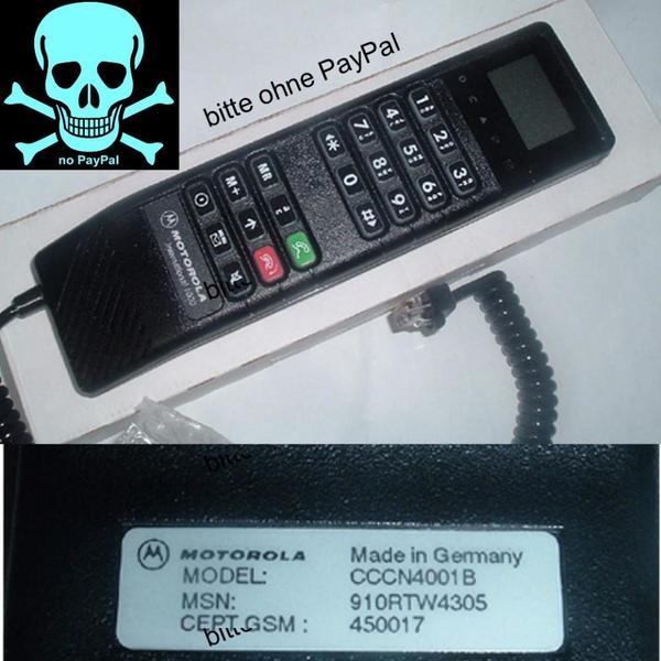 Motorola International 1000, Autotelefon Hörer, kein PayPal - Sinsheim - Motorola International 1000, Autotelefon HörerHörer für das Autotelefon: Motorola International 1000.Der Hörer ist unbenutzt und in der originalen Verpackung.Model Nr.: CCCN4001BPorto Inland: 4,95 Euro.Preis: bestes Angebot. - Sinsheim