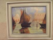 Ölgemälde Segelschiffe im Hafen von