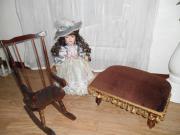 Porzellan Dekor Puppen Möbel Schaukelstuhl