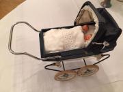 Puppen Kinderwagen blau/