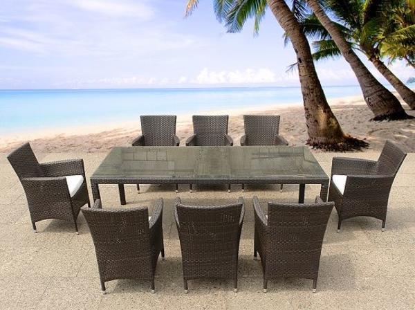 Hagebau Gartenmobel Teak : Rattan Gartenmöbel  Tisch + 8x Stuhl  Esstisch  Gartentisch 220cm