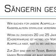 Sängerin für Acappella-