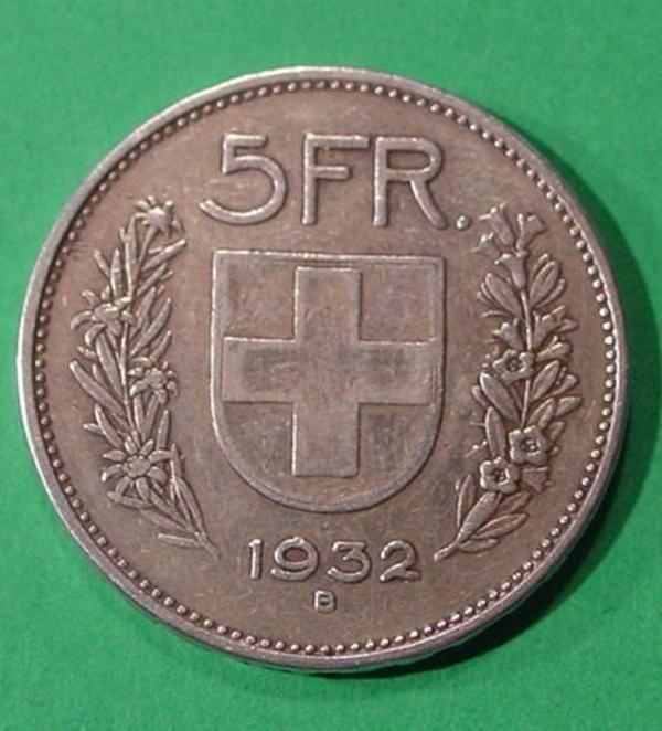 Silveroriginalmünze Confoederatio Helvetica Switzerland 1932 5